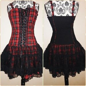 Hot Topic Tripp nyc Goth Punk Plaid Corset Dress